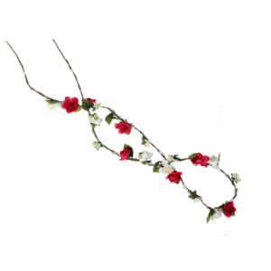 Ro Accessories Κορδέλα σχοινί με λουλούδια Κόκκινο/Λευκό